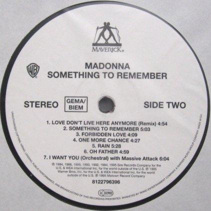 Виниловая пластинка Madonna SOMETHING TO REMEMBER