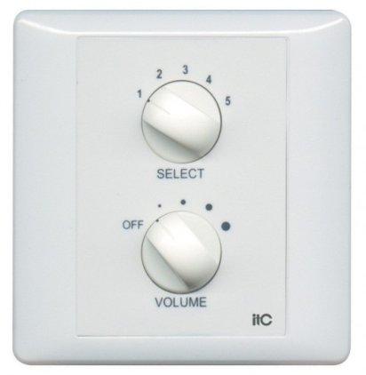 Панель ITC T-6FS Селектор программ/регулятор громкости 6 Вт/100 В, реле принудительного включения