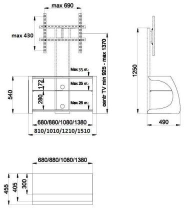 Подставка Akur Сиквел 1500 с плазмастендом