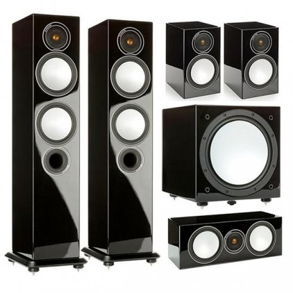 Комплект Monitor Audio Silver set 5.1 high gloss black (6+1+Centre+W12)