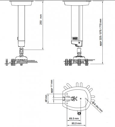 Крепёж для проектора SMS Projector CLF 250 mm include SMS Unislide silver (штанга+универсальное крепление)
