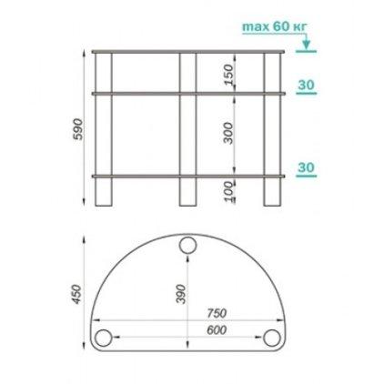 Подставка MD 401 Slim (хром/дымчатое стекло)