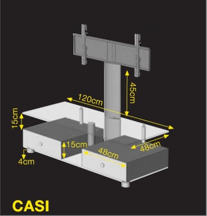 Подставка под ТВ и HI-FI Ultimate CASI 1248B/WW silver alu