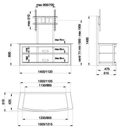 Подставка Akur Эстель 1200 с плазмастендом