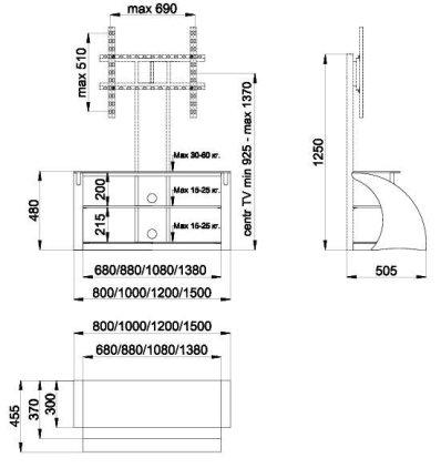 Подставка Akur Ракурс 1200 с плазмастендом