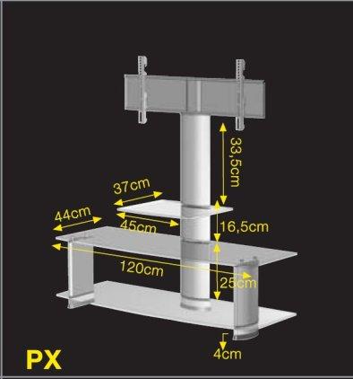 Подставка под ТВ и HI-FI Ultimate PX 1244B silver alu