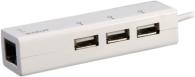 Концетратор Prolink MP300 (USB 2.0, 3-порта, +RJ45(встроенная сетевая карта), 0,15м)