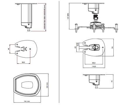 Крепление для проектора SMS Projector CL F700 A/S incl Unislide silver