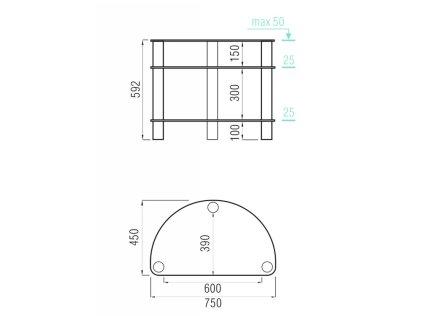 Подставка MD 401 Slim (черный/дымчатое стекло)
