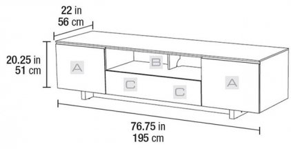 Подставка под ТВ и HI-FI BDI Nora 8239 gloss black