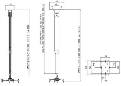 Крепеж SMS Потолочный крепёж Projector CLV (SMS Aero Variable) 1050-1300 alum