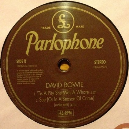 "Виниловая пластинка David Bowie SUE (OR IN A SEASON OF CRIME) (10"" vinyl single/3 tracks)"