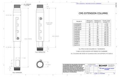 """Крепление для проектора Chief CMS0203 white штанга регулируемая длиной 24""""-36"""" (60.9-91.4см)"""