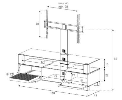 Подставка под телевизор Sonorous MD 8143-C-INX-WNT