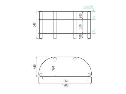 Подставка MD 403 Slim (серебро/матовое стекло)