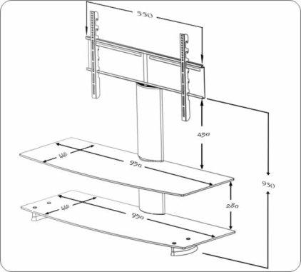 Подставка под ТВ и HI-FI Ultimate AX 9544B silver alu