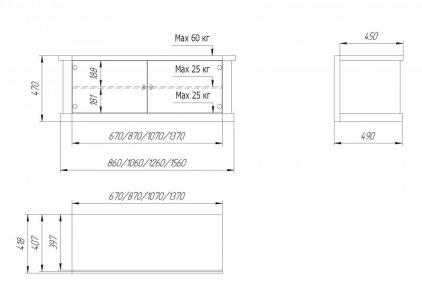 Подставка Akur PS 700 D/1500 (черный + тонированное стекло + ольха с темной патиной)