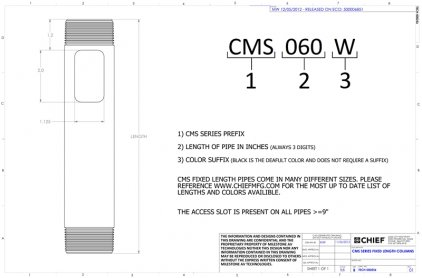 "Крепление для проектора Chief CMS036s Siver Fixed Extension Column 36"""