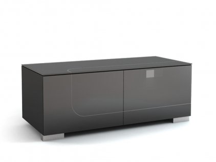 Подставка под телевизор MD 506.1212-B Planima (ящик: черный, фасад: дымчатый, опора: алюминий)
