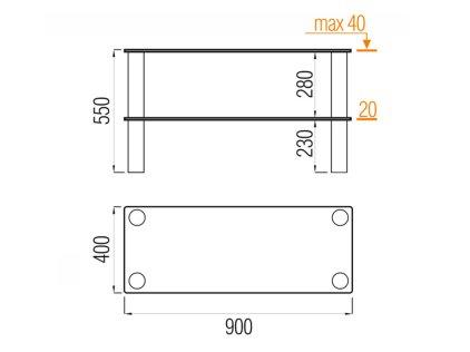 Подставка MD Flatform TV 04 (черный/прозрачное стекло)