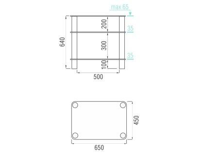 Подставка под аппаратуру MD 108-3 (хром/матовое стекло)