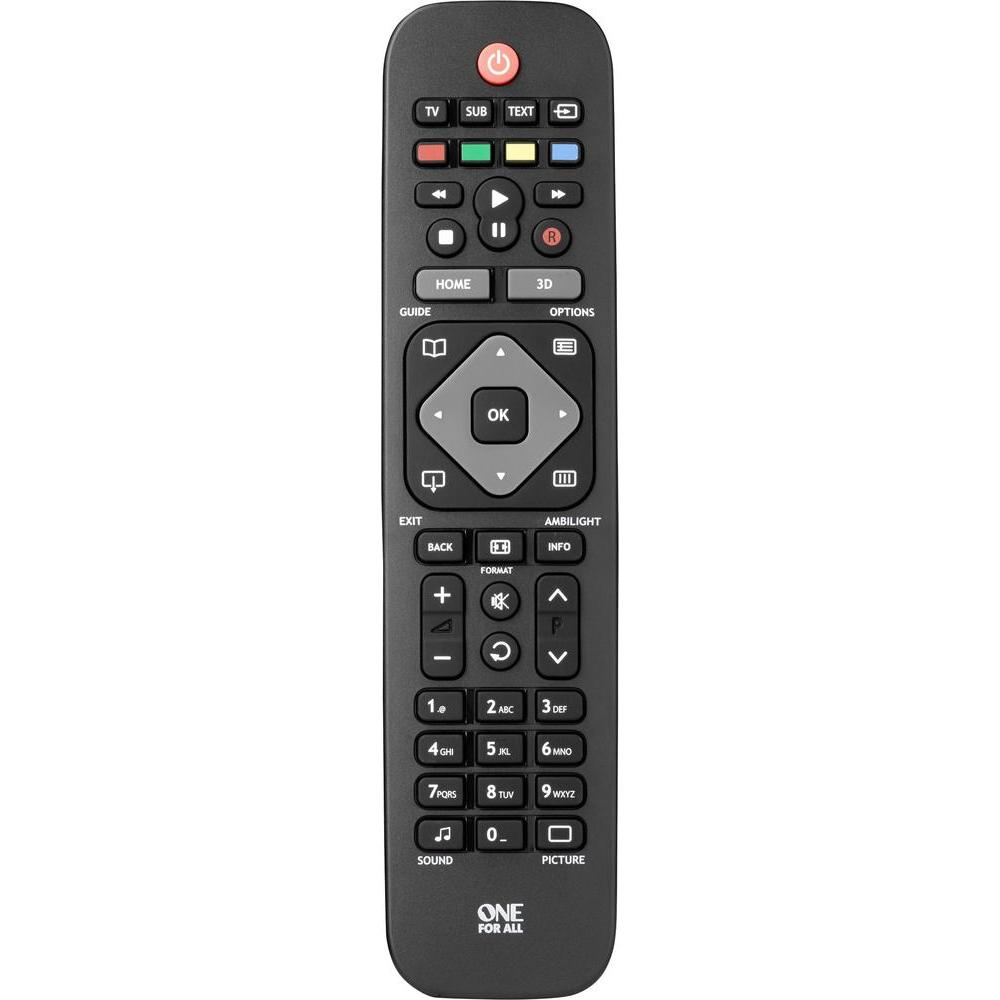 Пульты программируемые OneForAll Replacement Remote for Philips TVs (URC1913) пульты программируемые oneforall simple comfort 4 urc6440